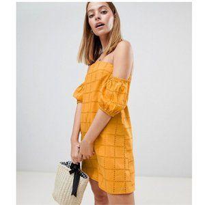 ASOS Broderie Dress Eyelet Marigold OffShoulder 12